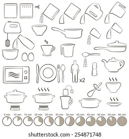 vector set icons  cooking tools,  manual instructions,