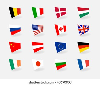 Vector set icons countries flags. EPS10