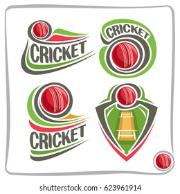 Vector set icons for Cricket game: red ball flying on curve on pitch field, abstract clip art logo with title text - cricket, graphic image of sports emblem shield on cricket theme, isolated on white.