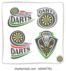 Vector set icons for Darts game: thrown arrow in bullseye of dartboard, 4 abstract clip art logo with title text - darts, graphic image of sports emblem shield on dart board theme, isolated on white.