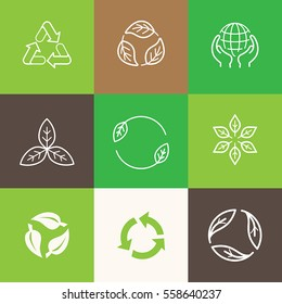 Vector set of icons and emblems - recycle symbols - sustainable development and zero waste concepts