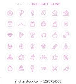 Vector set of icons and emblems for social media story highlight covers - design templates for lifestyle, travel and beauty bloggers and photographers, designers, creative entrepreneurs