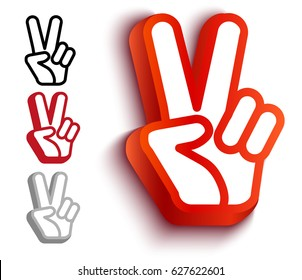 Vector set icons with hand and peace symbols. Hand and two fingers are like peace symbol.