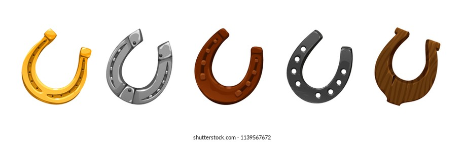 vector set of icons horseshoes of different colors shapes made of different metals