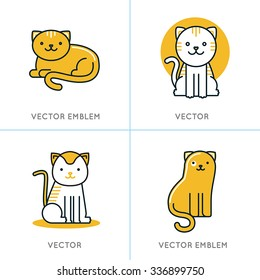 Vector set of icons and illustrations in trendy linear style - smiling and friendly cats - logo design templates for pet shops, stores or shelters