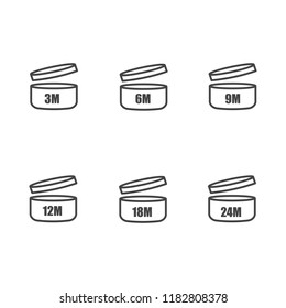 Vector set of icons indicating the period of the product after the opening. Expiration date after opening the package. Layers grouped for easy editing illustration. For your design.