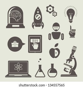 Vector set of icons for innovation and science