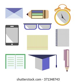 Vector set of icons. Letter, glasses, alarm clock, pen, pencil, notebook, paper, smart phone, academic cap. Isolated on the white background.