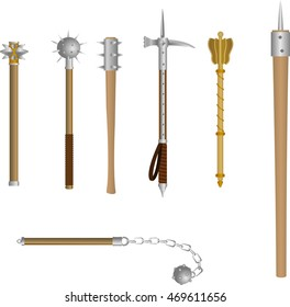 Vector set of icons medieval blunt weapon. The club-like weapons for melee combat in historical or fantasy style.