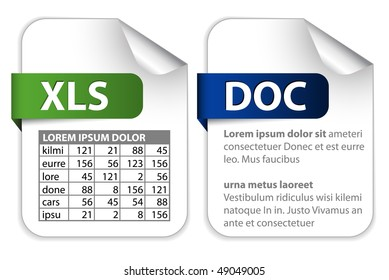 Vector set of icons for office file extensions (text, spreadsheet)