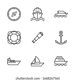 Vector set of icons on the marine theme.  Symbols of transport ships and yachts, sailboat. Thin line style.