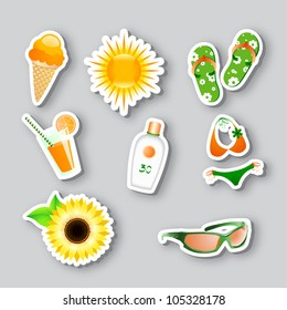 vector set of icons on the summer theme. 10 eps