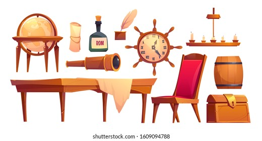 Vector set icons of pirate ship equipment. Cartoon illustration of treasure box, bottle of rum, spyglass and captain cabin furniture. Symbols of sea adventure for game or theme party