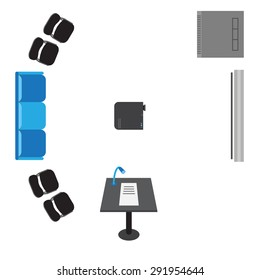 Vector set of icons for presentation - top view: sofa, chairs, projector, server, board bollard.