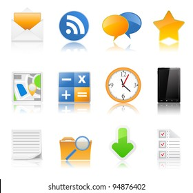 Vector set of icons with reflection