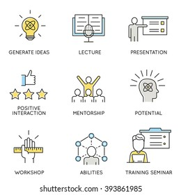 Vector set of icons related to business, corporate management, employee organization and customer relationship management. Flat line pictograms and infographics design elements - part 1