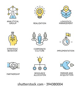Vector set of icons related to business, corporate management, employee organization and customer relationship management. Flat line pictograms and infographics design elements - part 3