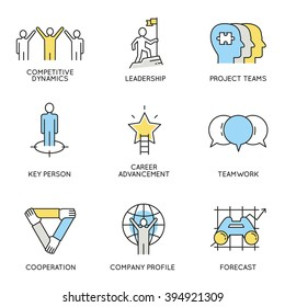 Vector set of icons related to business, corporate management, employee organization and customer relationship management. Flat line pictograms and infographics design elements - part 4