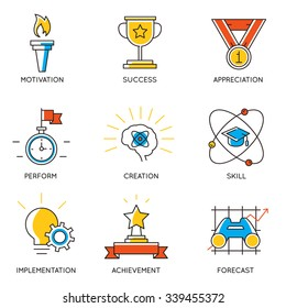 Vector set of icons related to career progress and business management. Infographics design elements - part 1