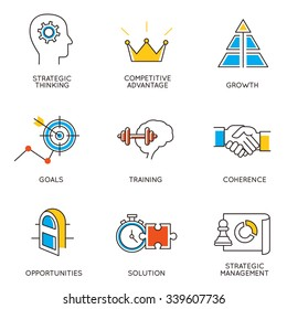 Vector set of icons related to career progress and business management. Infographics design elements - part 3