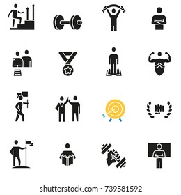 Vector set of icons related to career progress, business people training and professional consulting service