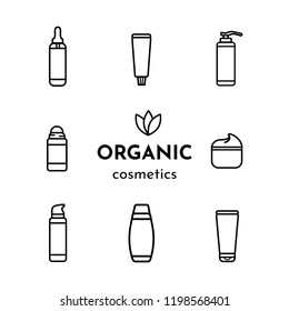 Vector set. Icons of roll-on deodorant, tooth paste, cream, bottle of serum, shampoo, shower gel, liquid soap. Text: Organic cosmetics.  Logo with 3 leaf. White background. Flat style, black outline