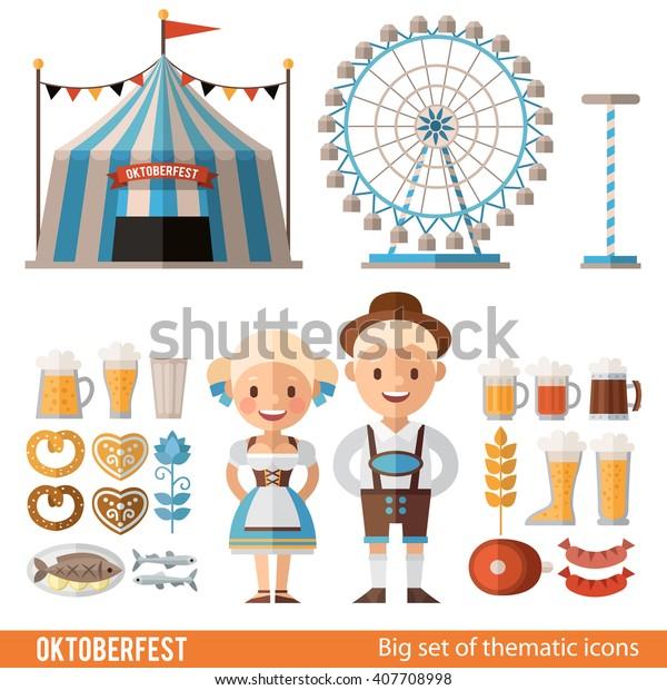 Vektorset von Symbolen, Szenen und Figuren für das Oktoberfest. Zelt, Riesenrad, Mann und Frau, Bier und Würstchen für das Festival. Traditionelles Bayerisches Festival.