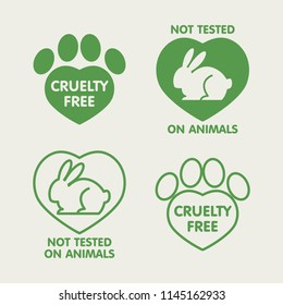 Vector set of icons, signs, design elements, logo design template and badges for natural and organic cosmetics. Includes rabbit, animal paw print and heart shape. No animal testing. Cruelty free.