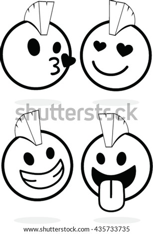 Vector Set Icons Smiley Faces Mascot Stock Vector Royalty Free