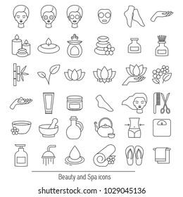 Vector set of icons for spa, boutique, beauty salon. Thin line contour symbols.