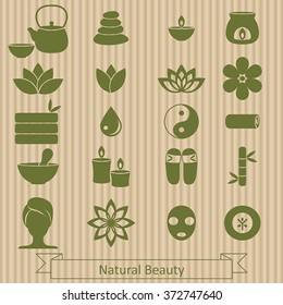 Vector set of icons  for spa, boutique, beauty salon.