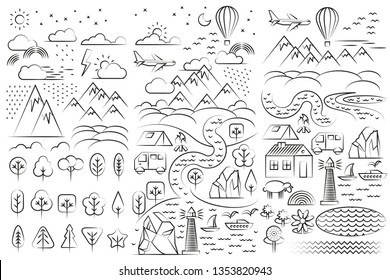 Vector set of icons. Tourism and outdoor recreation. Landscape in flat linear style. Mountains, hills, clouds, trees, camp, river. Nature, ecology and environment.