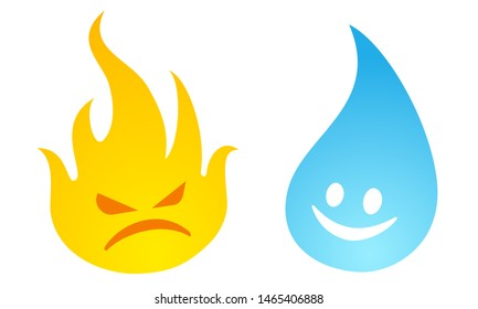 Vector set icons two elements fire and water. Nature elements in emoji style. Fire and water.