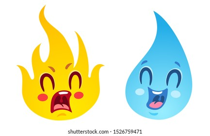 Vector set icons two elements fire and water. Nature elements in emoji style. Fire and water. Kawaii emoji.