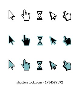 Vector set of icons for web: hand clicking, hourglass and arrow