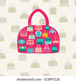 Vector set icons of Women bags and  handbags. Fashion Pattern on beige  background