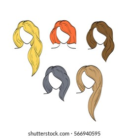 Vector set of icons. Women with different hairstyle and hair color