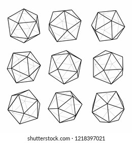 Vector set of icosahedral 3d forms. Volumetric geometric shapes polyhedrons.