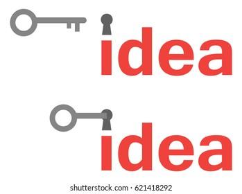 Vector set of idea texts with keyholes and grey key unlocking.