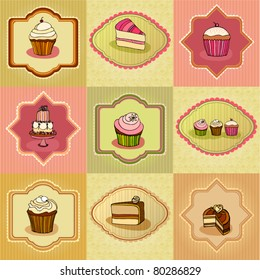 vector set of illustrated cute retro cake cards