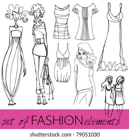 vector set of illustrated elegant stylized fashion models and clothes