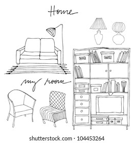 vector set of illustrated interior elements | bookshelf, sofa, lamp, couch