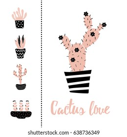 vector set of illustration of cacti and Cactus love text