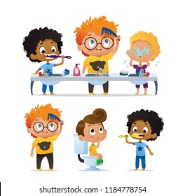 Vector Set of Illustration of cute kindergarten multiracial kids doing morning rutine. Boy Brushing his teeth. Cute kindergarten Boy combs his tousle hair. Boy on the toilet