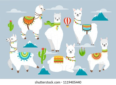 Vector set illustration of cute llama and alpaca witn cactuses, mountains, balloon and clouds. Cartoon llama character illustration elements for poster, greeting, birthday card. Cute Alpaca.
