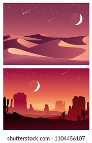 Vector set illustration of desert sunset and night landscape with  silhouettes of stones, mountains, hills, plants and cactuses. Cartoon Western scene under the moon. Night in Mexican desert.