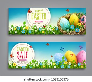 Vector set illustration. Easter vintage  sale banner, advertising round card with eggs lying in a wicker basket  and with green grass against the background of  blue sky. template discount posters