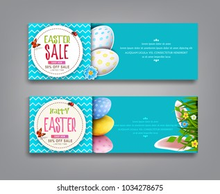 Vector set illustration. Easter vintage  sale banner, advertising round card with eggs and with green grass, rabbit ears, against the background of  blue sky. Design element, template discount posters