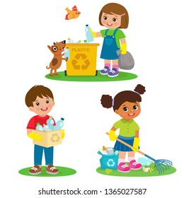 Vector Set Illustration Kids Picking Up Plastic Bottles Into Garbage Bags. Children Cleaning Environment From Trash. Kids Collect Rubbish For Recycling. Eco Education Vector. Boy And Girl