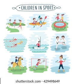 Vector set of illustration of kids playing various sports on white